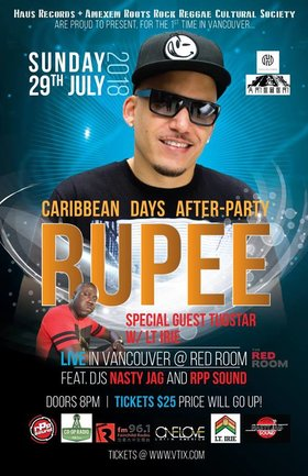Caribbean Days After-Party!: Rupee, TugStar, DJ Lt. Irie @ The Red Room Jul 29 2018 - Mar 23rd @ The Red Room