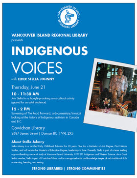 Indigenous Voices with elder Stella Johnny @ Vancouver Island Regional Library (Cowichan Branch) Jun 21 2018 - Jan 22nd @ Vancouver Island Regional Library (Cowichan Branch)