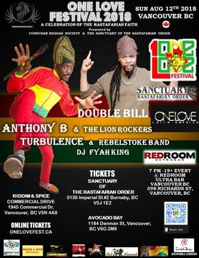 One love festival 2018 -: ANTHONY B, Turbulence @ The Red Room Aug 12 2018 - Mar 23rd @ The Red Room