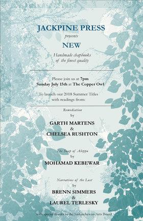 JackPine Summer Book Launch: Garth Martens, Bren Simmers, Mohammad Kebbewar @ Copper Owl Jul 15 2018 - Oct 17th @ Copper Owl