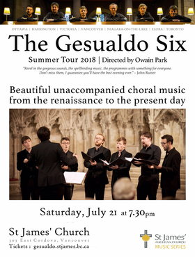 The Gesualdo Six, Owain Park @ St James' Church Jul 21 2018 - Mar 22nd @ St James' Church
