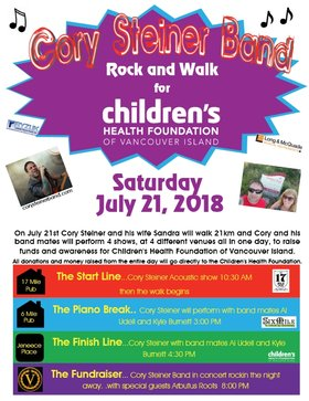 Cory Steiner Band Rock and Walk for Children's Health Foundation of Vancouver Island: Cory Steiner Band, Arbutus Roots @ V-lounge Jul 21 2018 - Jun 5th @ V-lounge