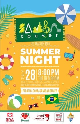 Sambacouver  Brazilian Summer Night @ The Red Room Jul 28 2018 - Dec 10th @ The Red Room