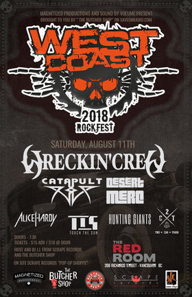 West Coast Rock Fest /Wreckin Crew, Catapult, Desert Merc & More @ The Red Room Aug 11 2018 - Mar 22nd @ The Red Room