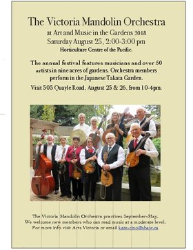 Victoria Mandolin Orchestra @ The Gardens at HCP Aug 25 2018 - Jul 4th @ The Gardens at HCP