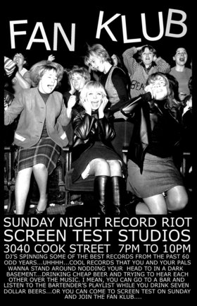 FAN KLUB record Party and DJ night @ Screen Test Studios Oct 14 2018 - Oct 18th @ Screen Test Studios