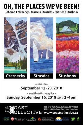 Oh The Places We've Been!: Marcela Strasdas, Deborah Czernecky, Sharlene Stushnov Lee @ Coast Collective Art Society Sep 12 2018 - May 13th @ Coast Collective Art Society