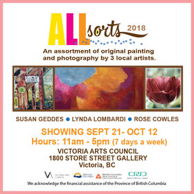 All Sorts 2018: ROSE COWLES, Lynda Lombardi, Susan Geddes @ Victoria Arts Council Sep 21 2018 - Feb 20th @ Victoria Arts Council