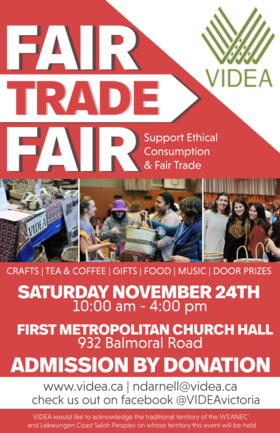 VIDEA Fair Trade Fair @ First Metropolitan United Church Nov 24 2018 - Apr 20th @ First Metropolitan United Church