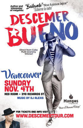 Direct from Cuba: Descemer Bueno & his band in Vancouver @ The Red Room Nov 4 2018 - Feb 17th @ The Red Room