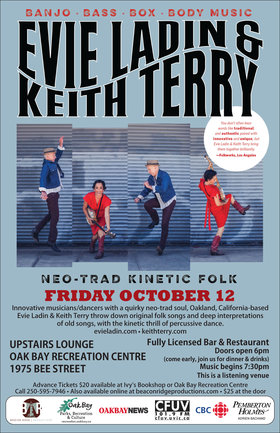 Banjo - Bass - Body Music: Evie Ladin & Keith Terry @ Upstairs Lounge - Oak Bay Recreation Centre Oct 12 2018 - Mar 31st @ Upstairs Lounge - Oak Bay Recreation Centre
