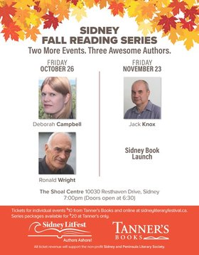 Fall Reading Series: An Evening with Deborah Campbell and Ronald Wright: Deborah Campbell, Ronald Wright @ Jennifer Van Es Oct 26 2018 - Jun 1st @ Jennifer Van Es