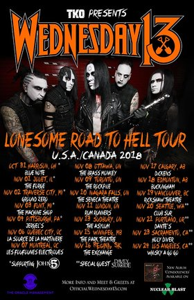 Wednesday 13 with guests: Wednesday 13, 2 Shadows, ROAD RASH @ Rickshaw Theatre Nov 19 2018 - Feb 20th @ Rickshaw Theatre
