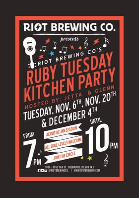 Ruby Tuesday:  Glenn and Jetta @ Riot Brewing Co. Jan 15 2019 - Dec 12th @ Riot Brewing Co.
