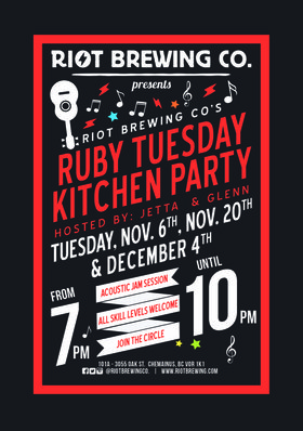 Ruby Tuesday:  Glenn and Jetta @ Riot Brewing Co. Jan 15 2019 - Dec 19th @ Riot Brewing Co.
