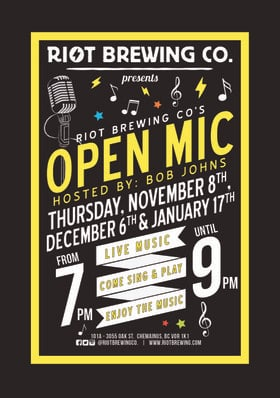 Open Mic Night: Bob Johns @ Riot Brewing Co. Jan 17 2019 - Jan 22nd @ Riot Brewing Co.