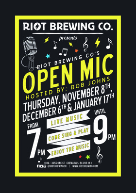 Open Mic Night: Bob Johns @ Riot Brewing Co. Jan 17 2019 - Dec 16th @ Riot Brewing Co.