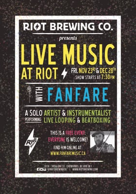 Fanfare @ Riot Brewing Co. Dec 28 2018 - Dec 19th @ Riot Brewing Co.