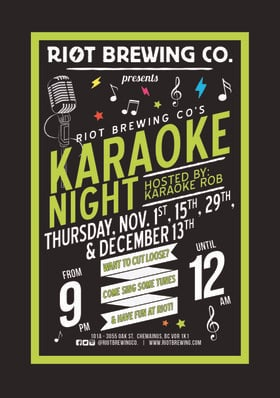 Karaoke Night at Riot @ Riot Brewing Co. Dec 13 2018 - May 27th @ Riot Brewing Co.