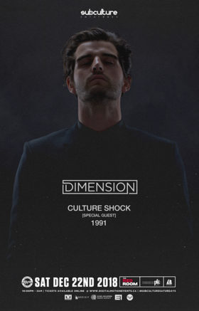 Dimension w/ special guests Culture Shock & 1991 @ The Red Room Dec 22 2018 - Feb 17th @ The Red Room