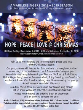 Peace | Love | Hope @ Christmas: Amabilis Singers @ New Westminster Christian Reformed Church Dec 7 2018 - May 28th @ New Westminster Christian Reformed Church