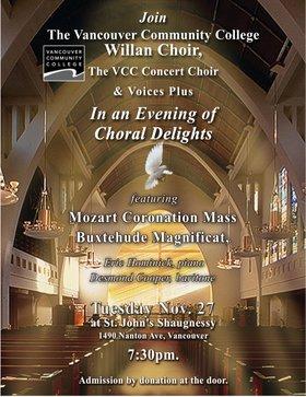 An Evening of Choral Delights: The Willan Choir, VCC Concert Choir, Voices Plus @ St. John