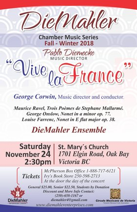 DieMahler Chamber Music Series: George Corwin, guest conductor, DieMahler  Ensemble @ St. Mary's Anglican Church Nov 24 2018 - Jun 6th @ St. Mary's Anglican Church