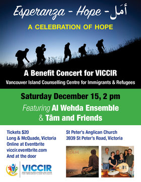 A Celebration of Hope: A Benefit Concert for VICCIR: Al Wehda Ensemble, Tam and Friends @ St. Peter's Anglican Church Dec 15 2018 - Dec 11th @ St. Peter's Anglican Church