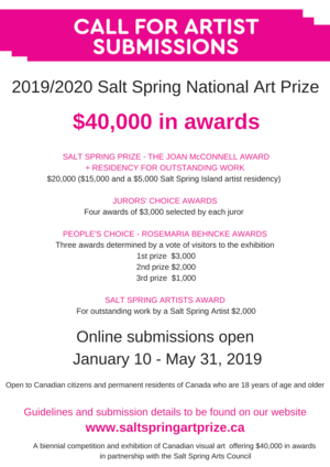 Call for Artist Submissions - $40,000 in Awards - The Salt Spring National Art Prize