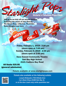 Movin' On!: Starlight Pops  @ Dave Dunnet Community Theatre (Oak Bay High School) Feb 1 2019 - Feb 26th @ Dave Dunnet Community Theatre (Oak Bay High School)