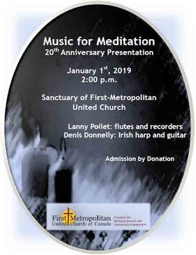 Music for Meditation: Lanny Pollet (Irish Flute, Recorder), Denis Donnelly  (Irish Harp, Guitar) @ First Metropolitan United Church Jan 1 2019 - Apr 20th @ First Metropolitan United Church