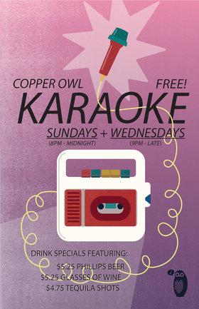Karaoke Wednesdays: feat. you yah rockstar! @ Copper Owl Jan 16 2019 - Oct 28th @ Copper Owl