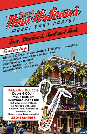 Back to New Orleans: Jonnie Bridgman & Shanna Dance @ Hermann's Jazz Club Feb 15 2019 - Oct 28th @ Hermann's Jazz Club