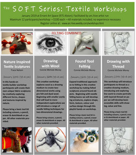 The Soft Series: Textile Workshops: Trace Nelson, Connie Michele Morey  @ arc.hive artist run centre Jan 20 2019 - Jul 5th @ arc.hive artist run centre