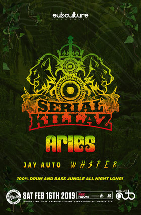 100% DnB Jungle: SERIAL KILLAZ, Aries @ The Red Room Feb 16 2019 - Feb 18th @ The Red Room