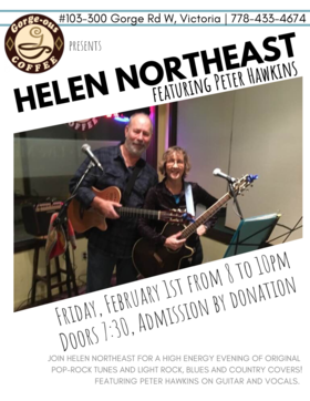 Pop/rock singer-songwriter: Helen Northeast, Peter Hawkins  (feature) @ Gorge-ous Coffee Feb 1 2019 - Feb 16th @ Gorge-ous Coffee