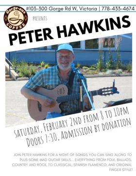 Singer and guitarist: Peter Hawkins  @ Gorge-ous Coffee Feb 2 2019 - Feb 16th @ Gorge-ous Coffee