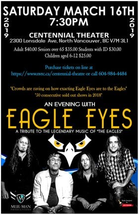 """An evening celebrating the music of the Eagles"": Eagle Eyes @ Centennial Theatre Mar 16 2019 - Feb 16th @ Centennial Theatre"