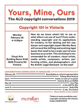 Yours, Mine, Ours: The ALO Copyright Conversations 2019 @ UVic Visual Arts Building Feb 25 2019 - Nov 30th @ UVic Visual Arts Building