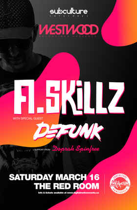 A.Skillz , Defunk @ The Red Room Mar 16 2019 - Apr 19th @ The Red Room