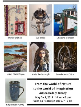 From the world of Nature to the world of Imagination: Wendy Duffield, Maria Roxborough, Ian Baker, Brenda Isaak Takao, Christina Morrison , John Stuart Price @ ArtSea Gallery May 3 2019 - Apr 21st @ ArtSea Gallery