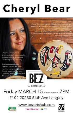 Cheryl Bear  (Aboriginal Singer/Songwriter/Storyteller) @ Bez Arts Hub Mar 15 2019 - Sep 23rd @ Bez Arts Hub