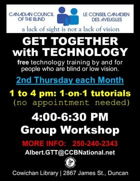 Get Together with Technology (GTT) Cowichan @ Vancouver Island Regional Library (Cowichan Branch) Oct 8 2020 - Oct 19th @ Vancouver Island Regional Library (Cowichan Branch)