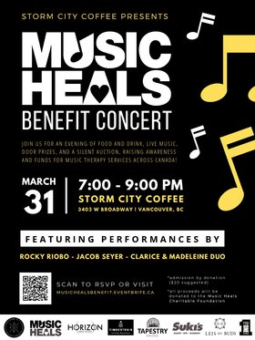 Music Heals Benefit Concert: Rocky Riobo , Clarice & Madeleine Duo, Jacob Seyer @ Storm City Coffee Mar 31 2019 - Jul 23rd @ Storm City Coffee