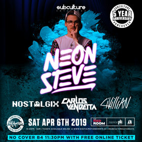 Neon Steve at SUBculture Saturdays [Customer appreciation night] NO COVER B4 11:30PM w/ FREE* online ticket @ The Red Room Apr 6 2019 - Apr 25th @ The Red Room