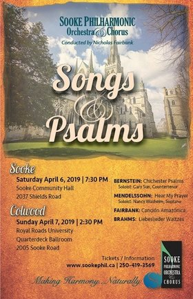 Songs & Psalms: Sooke Philharmonic Orchestra @ Quarterdeck Ballroom Royal Roads University Apr 7 2019 - Dec 7th @ Quarterdeck Ballroom Royal Roads University