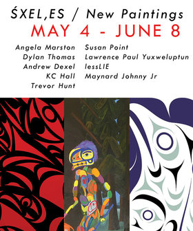 ŚXEL,ES  /  New Paintings: Susan Point, Lawrence Paul Yuxweluptun, lessLIE, Dylan Thomas, Maynard Johnny, Angela Marston, Andrew Dexel, KC Hall, Trevor Hunt @ Alcheringa Gallery May 4 2019 - Apr 21st @ Alcheringa Gallery