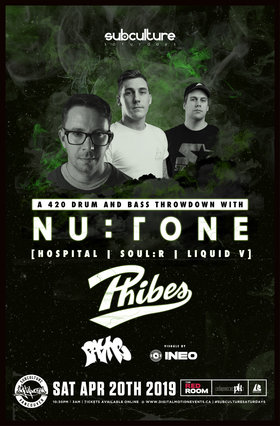 SUBculture Saturday's 420 100% DnB: NU:TONE , Phibes  @ The Red Room Apr 20 2019 - Aug 22nd @ The Red Room