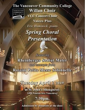 Spring Choral Presentation: The Willan Choir, Vancouver Community College Choir, Voices Plus @ Shaughnessy Heights United Church Apr 2 2019 - Jul 23rd @ Shaughnessy Heights United Church