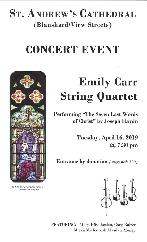 Emily Carr String Quartet: @ St  Andrew's Catholic Cathedral - Apr